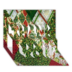 Christmas Quilt Background THANK YOU 3D Greeting Card (7x5)