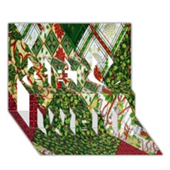 Christmas Quilt Background Get Well 3D Greeting Card (7x5)