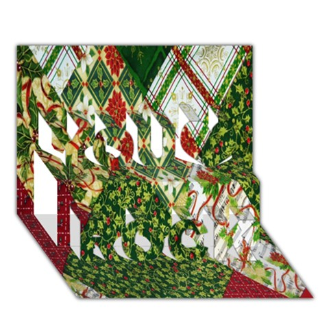 Christmas Quilt Background You Rock 3D Greeting Card (7x5)