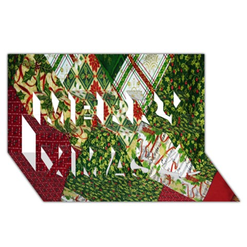 Christmas Quilt Background Merry Xmas 3D Greeting Card (8x4)