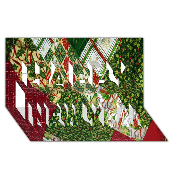 Christmas Quilt Background Happy New Year 3D Greeting Card (8x4)