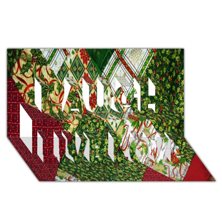 Christmas Quilt Background Laugh Live Love 3D Greeting Card (8x4)