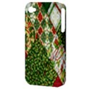 Christmas Quilt Background Apple iPhone 4/4S Hardshell Case (PC+Silicone) View3