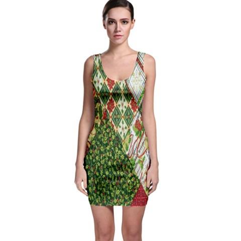Christmas Quilt Background Sleeveless Bodycon Dress
