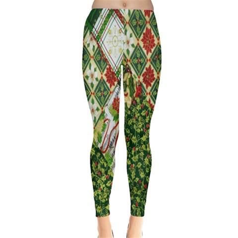Christmas Quilt Background Leggings