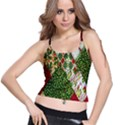 Christmas Quilt Background Spaghetti Strap Bra Top View1