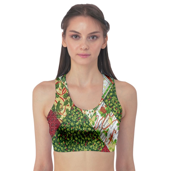 Christmas Quilt Background Sports Bra