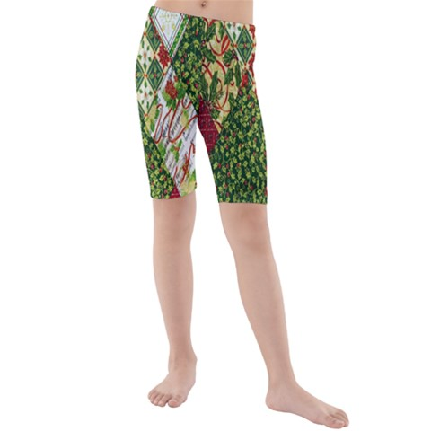 Christmas Quilt Background Kids  Mid Length Swim Shorts