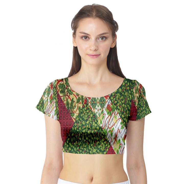 Christmas Quilt Background Short Sleeve Crop Top (Tight Fit)