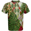 Christmas Quilt Background Men s Cotton Tee View1