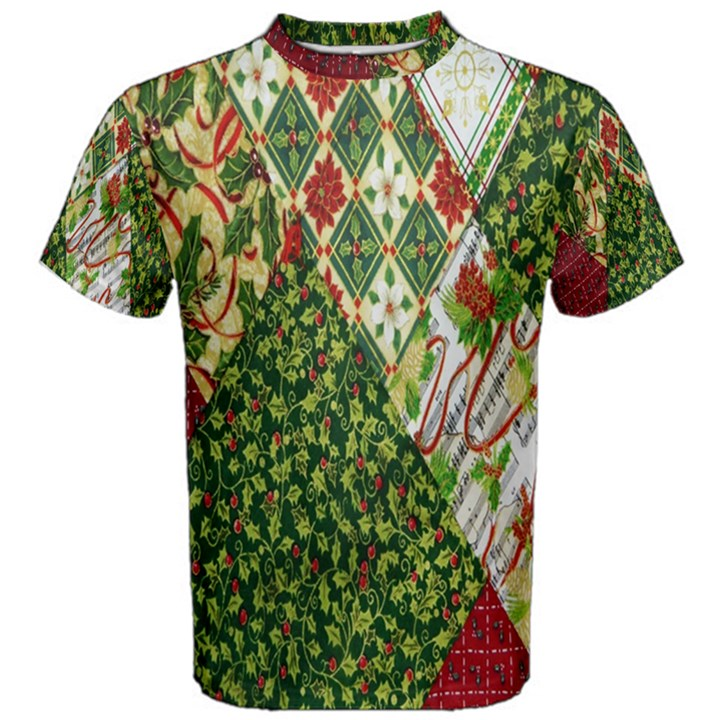 Christmas Quilt Background Men s Cotton Tee