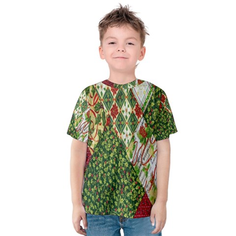 Christmas Quilt Background Kids  Cotton Tee