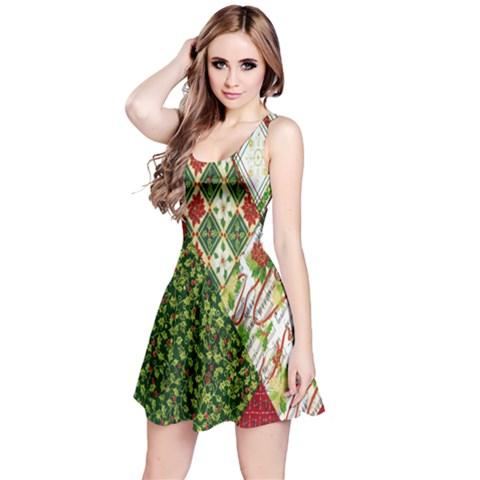 Christmas Quilt Background Reversible Sleeveless Dress
