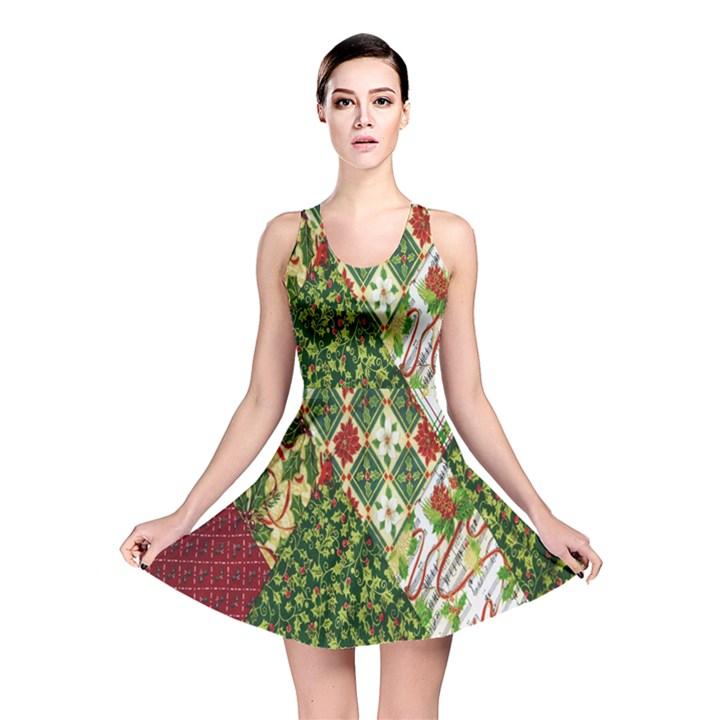 Christmas Quilt Background Reversible Skater Dress
