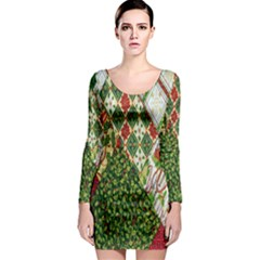 Christmas Quilt Background Long Sleeve Bodycon Dress