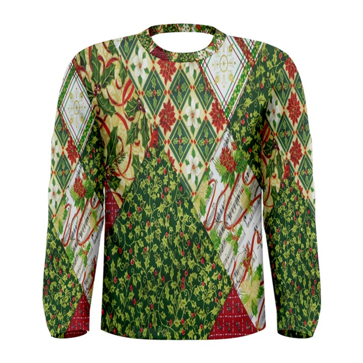 Christmas Quilt Background Men s Long Sleeve Tee