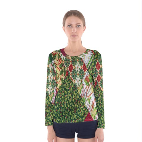 Christmas Quilt Background Women s Long Sleeve Tee