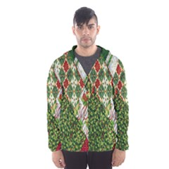 Christmas Quilt Background Hooded Wind Breaker (Men)