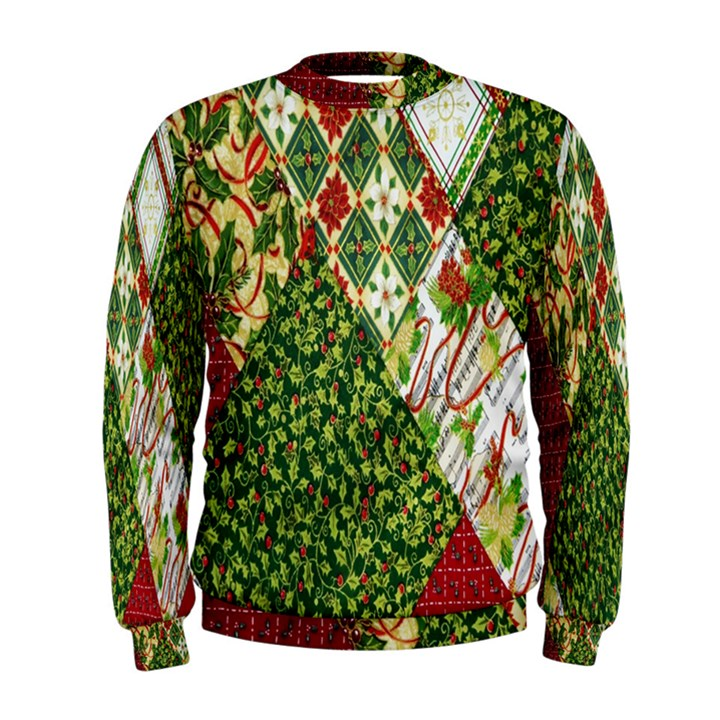 Christmas Quilt Background Men s Sweatshirt