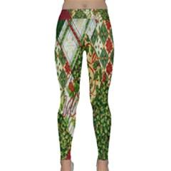 Christmas Quilt Background Yoga Leggings