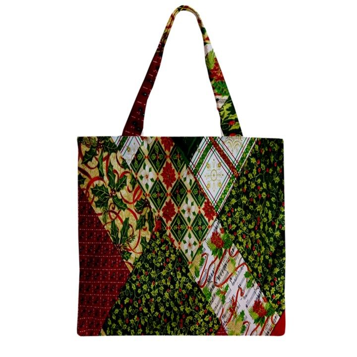 Christmas Quilt Background Zipper Grocery Tote Bag