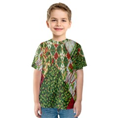 Christmas Quilt Background Kids  Sport Mesh Tee