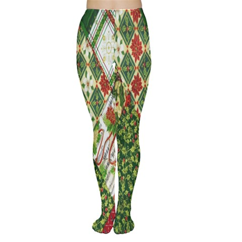 Christmas Quilt Background Women s Tights