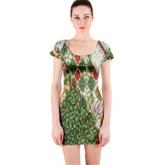Christmas Quilt Background Short Sleeve Bodycon Dress