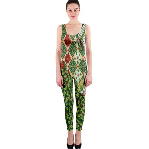 Christmas Quilt Background OnePiece Catsuit