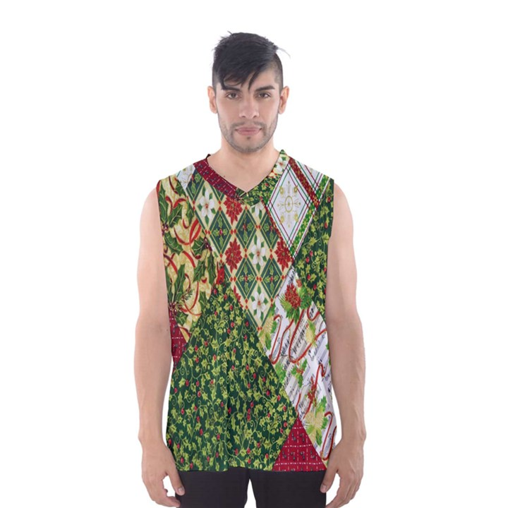 Christmas Quilt Background Men s Basketball Tank Top