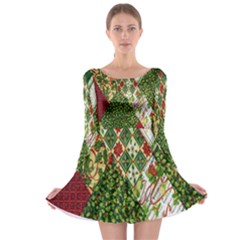 Christmas Quilt Background Long Sleeve Skater Dress