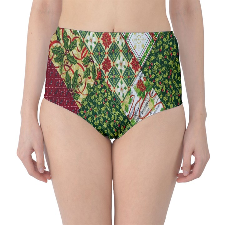 Christmas Quilt Background High-Waist Bikini Bottoms