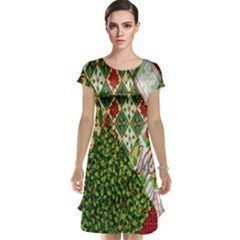 Christmas Quilt Background Cap Sleeve Nightdress