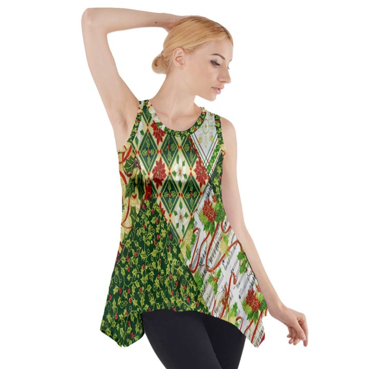 Christmas Quilt Background Side Drop Tank Tunic