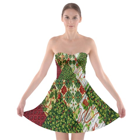 Christmas Quilt Background Strapless Bra Top Dress