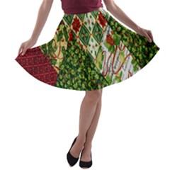 Christmas Quilt Background A-line Skater Skirt