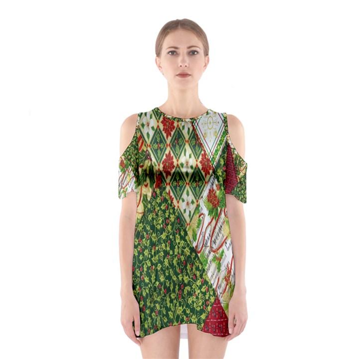 Christmas Quilt Background Cutout Shoulder Dress