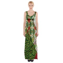 Christmas Quilt Background Maxi Thigh Split Dress