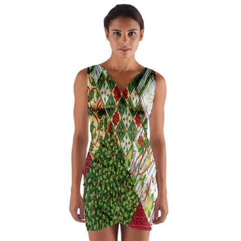 Christmas Quilt Background Wrap Front Bodycon Dress