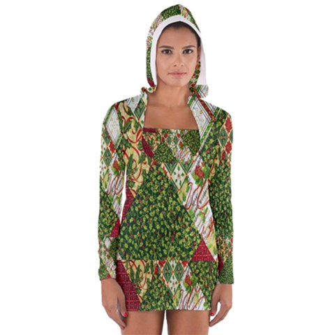Christmas Quilt Background Women s Long Sleeve Hooded T-shirt