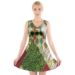 Christmas Quilt Background V-Neck Sleeveless Skater Dress