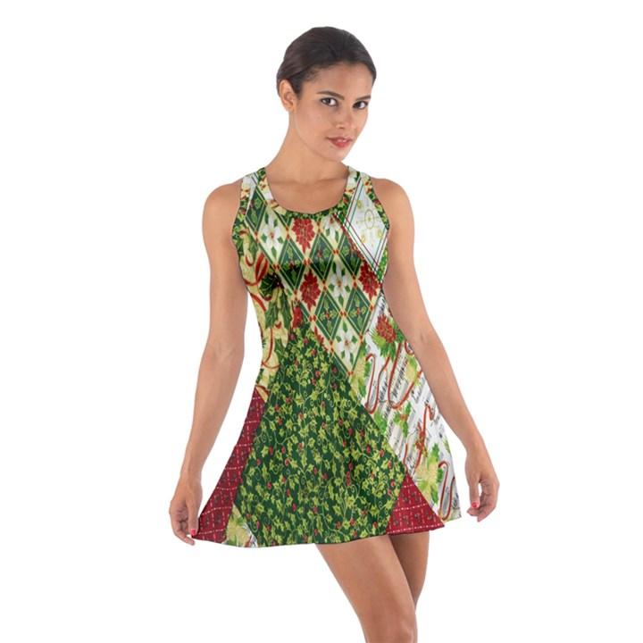 Christmas Quilt Background Cotton Racerback Dress