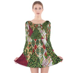 Christmas Quilt Background Long Sleeve Velvet Skater Dress
