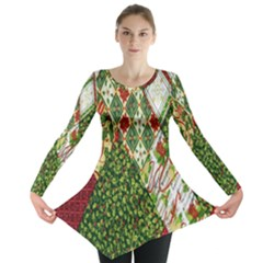 Christmas Quilt Background Long Sleeve Tunic