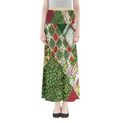 Christmas Quilt Background Maxi Skirts