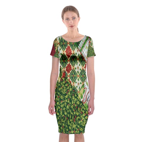 Christmas Quilt Background Classic Short Sleeve Midi Dress