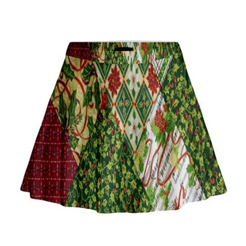 Christmas Quilt Background Mini Flare Skirt