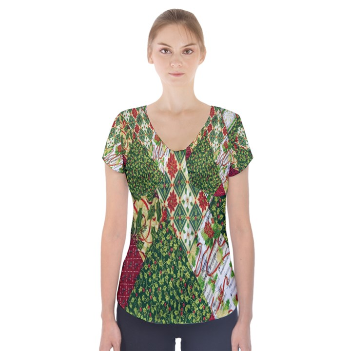 Christmas Quilt Background Short Sleeve Front Detail Top