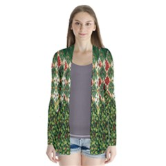 Christmas Quilt Background Drape Collar Cardigan