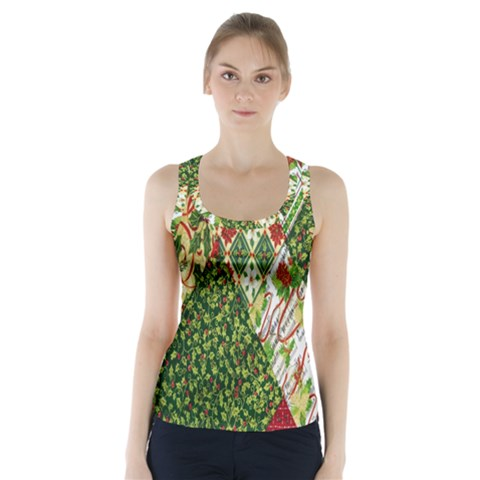 Christmas Quilt Background Racer Back Sports Top